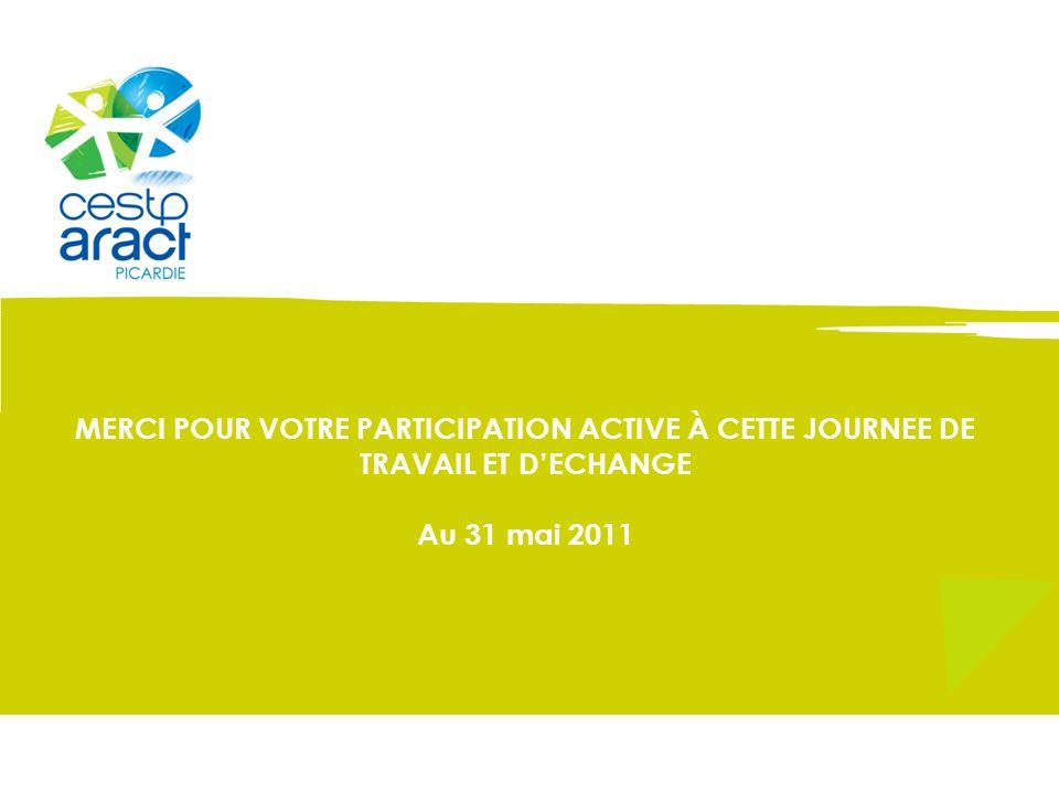 MERCI POUR VOTRE PARTICIPATION ACTIVE À CETTE JOURNEE DE TRAVAIL ET DECHANGE Au 31 mai 2011