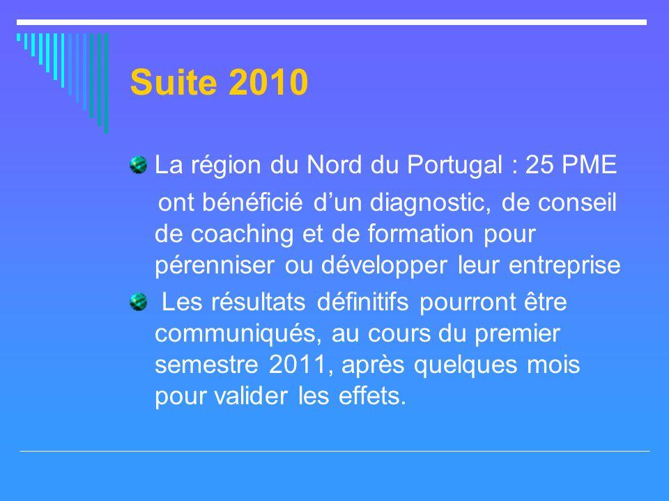 Suite 2010 La région du Nord du Portugal : 25 PME ont bénéficié dun diagnostic, de conseil de coaching et de formation pour pérenniser ou développer leur entreprise Les résultats définitifs pourront être communiqués, au cours du premier semestre 2011, après quelques mois pour valider les effets.