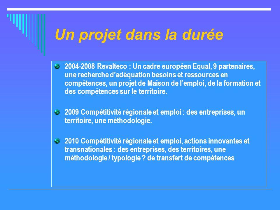 Un projet dans la durée 2004-2008 Revalteco : Un cadre européen Equal, 9 partenaires, une recherche dadéquation besoins et ressources en compétences, un projet de Maison de lemploi, de la formation et des compétences sur le territoire.