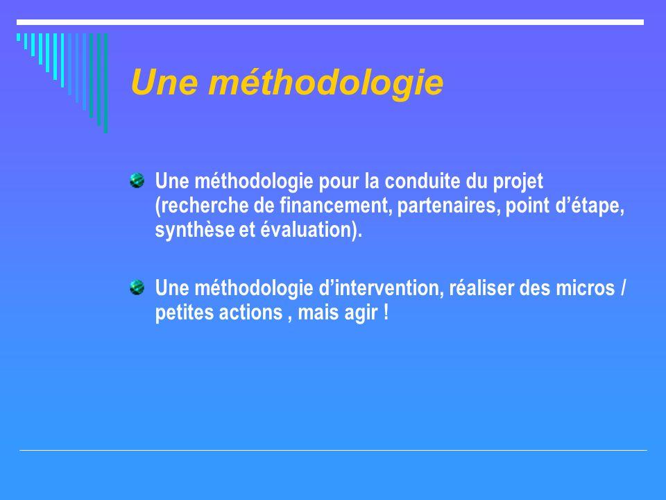Une méthodologie Une méthodologie pour la conduite du projet (recherche de financement, partenaires, point détape, synthèse et évaluation).
