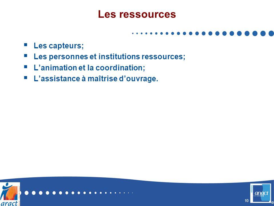 10 © Les ressources Les capteurs; Les personnes et institutions ressources; Lanimation et la coordination; Lassistance à maîtrise douvrage.