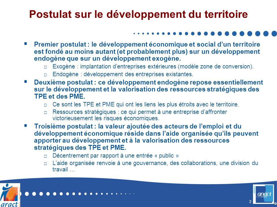 2 © Postulat sur le développement du territoire Premier postulat : le développement économique et social dun territoire est fondé au moins autant (et probablement plus) sur un développement endogène que sur un développement exogène.
