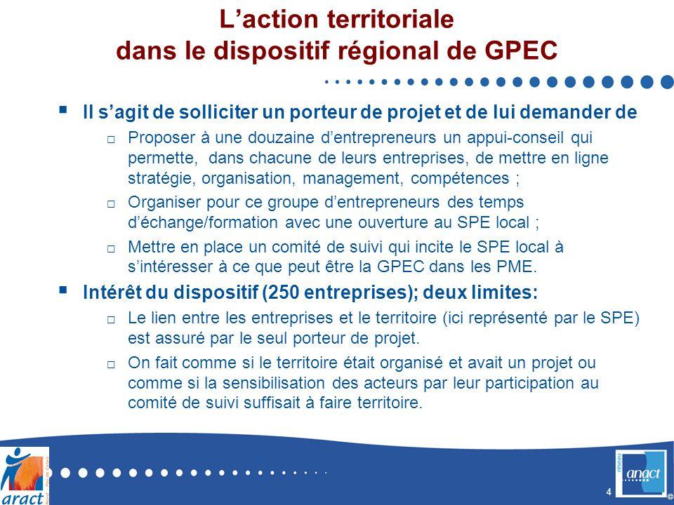 4 © Laction territoriale dans le dispositif régional de GPEC Il sagit de solliciter un porteur de projet et de lui demander de Proposer à une douzaine