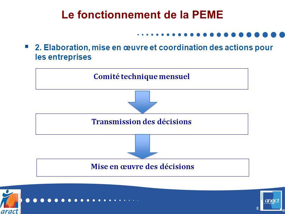 8 © Le fonctionnement de la PEME 2. Elaboration, mise en œuvre et coordination des actions pour les entreprises Comité technique mensuel Transmission