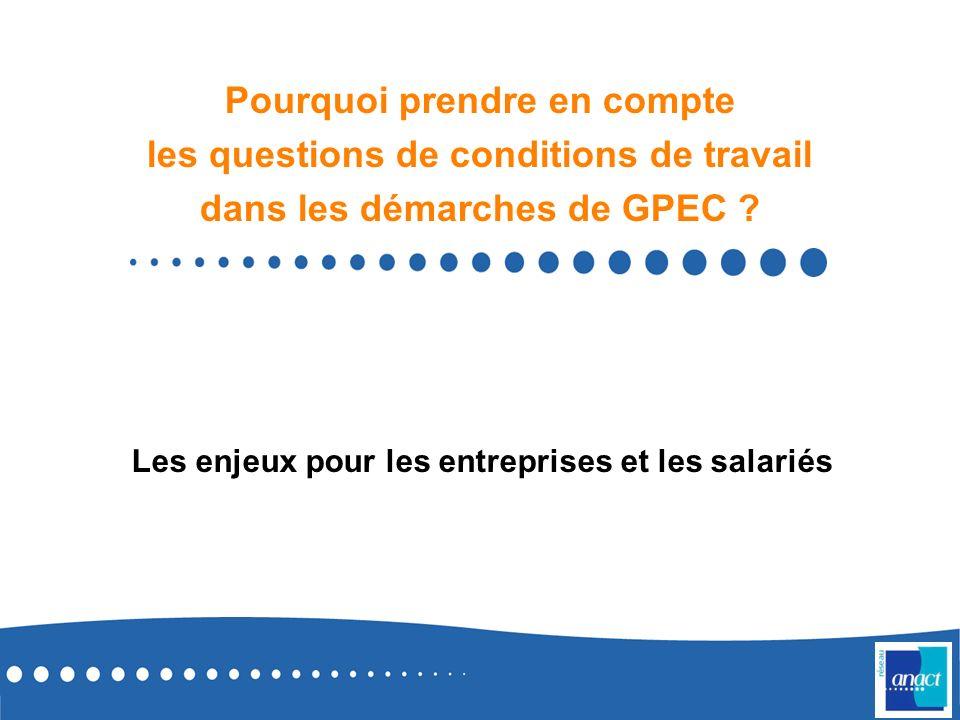 12 En synthèse Les conditions de travail sont un des leviers du développement des compétences et plus largement de lemployabilité (cf.