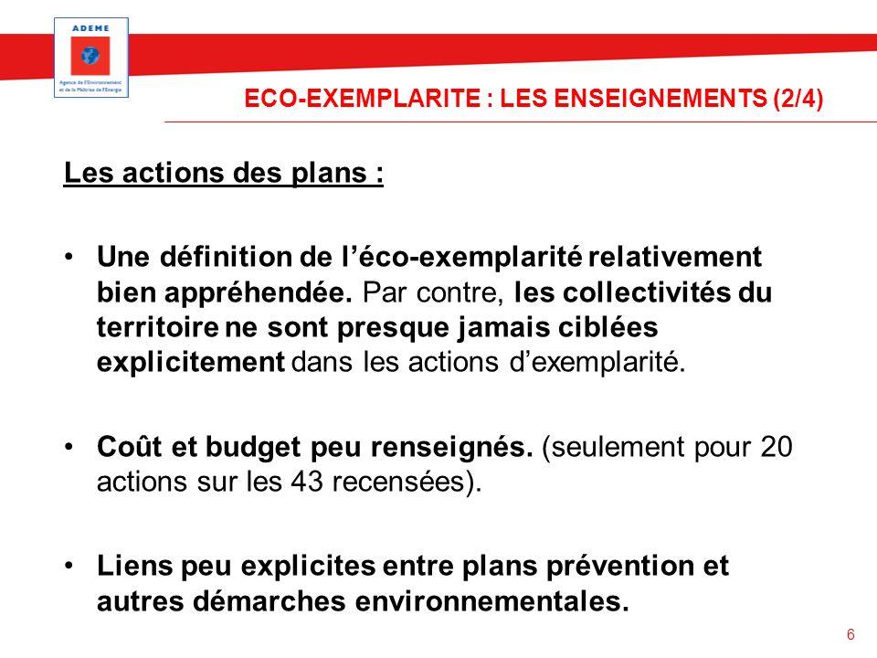 6 ECO-EXEMPLARITE : LES ENSEIGNEMENTS (2/4) Les actions des plans : Une définition de léco-exemplarité relativement bien appréhendée. Par contre, les