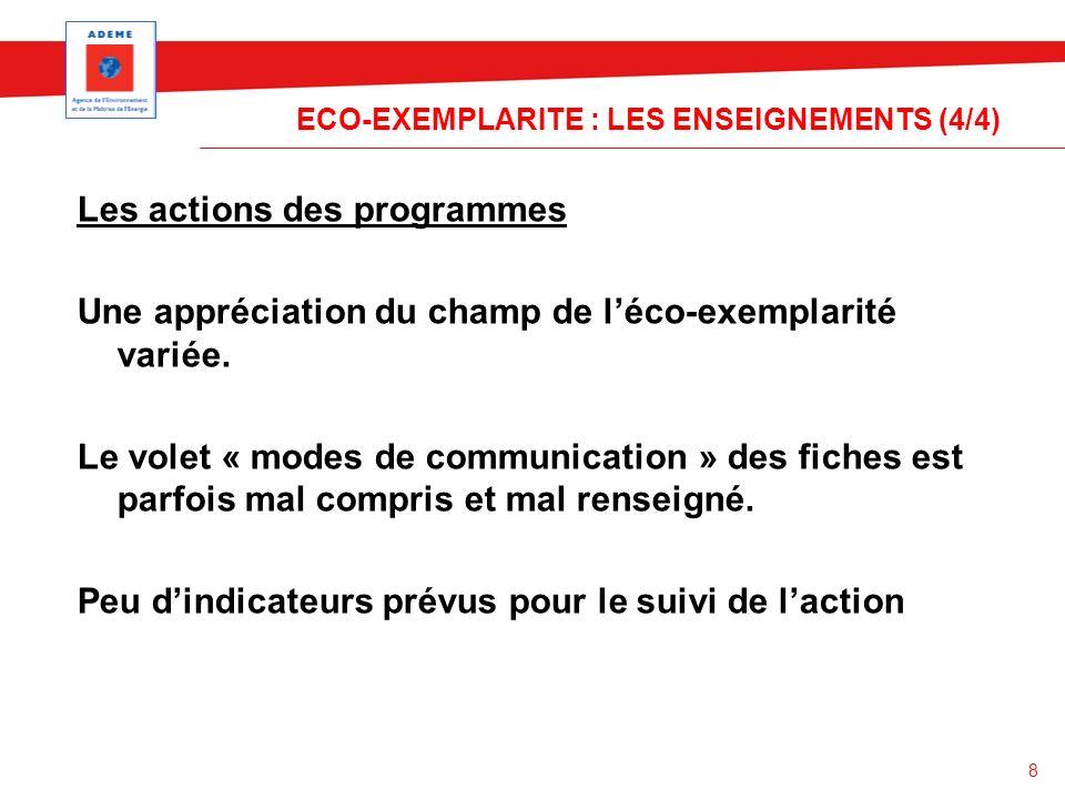 8 ECO-EXEMPLARITE : LES ENSEIGNEMENTS (4/4) Les actions des programmes Une appréciation du champ de léco-exemplarité variée. Le volet « modes de commu