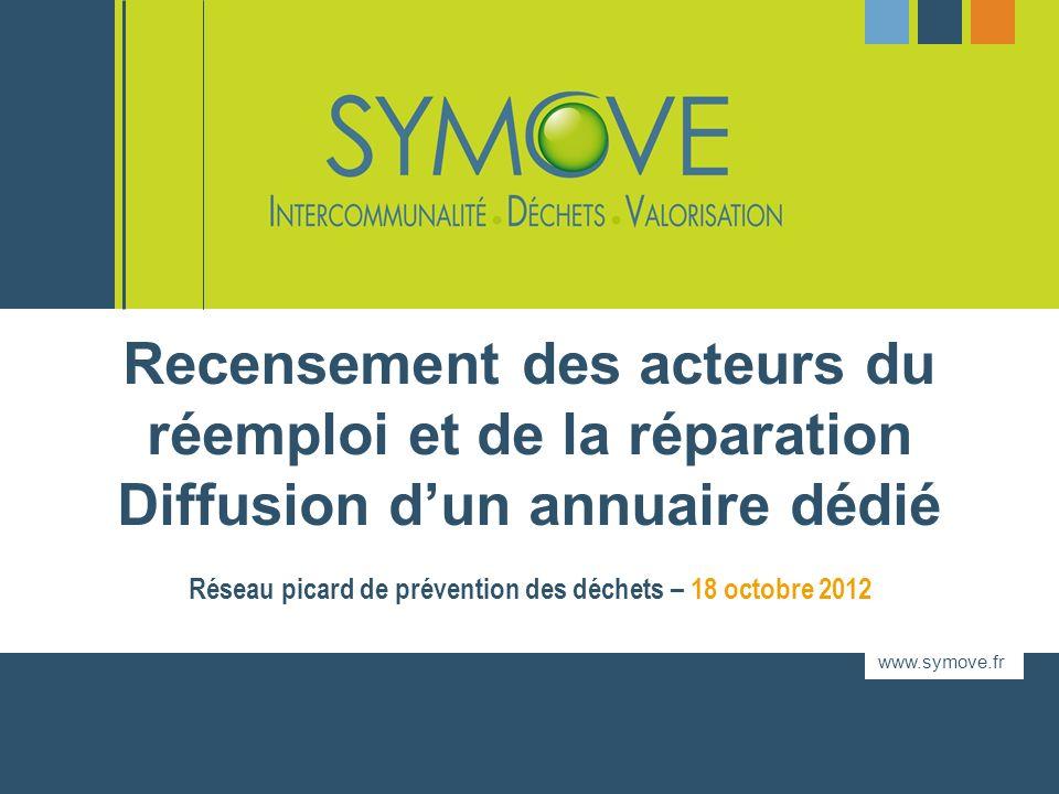 www.symove.fr Réseau picard de prévention des déchets – 18 octobre 2012 Recensement des acteurs du réemploi et de la réparation Diffusion dun annuaire dédié