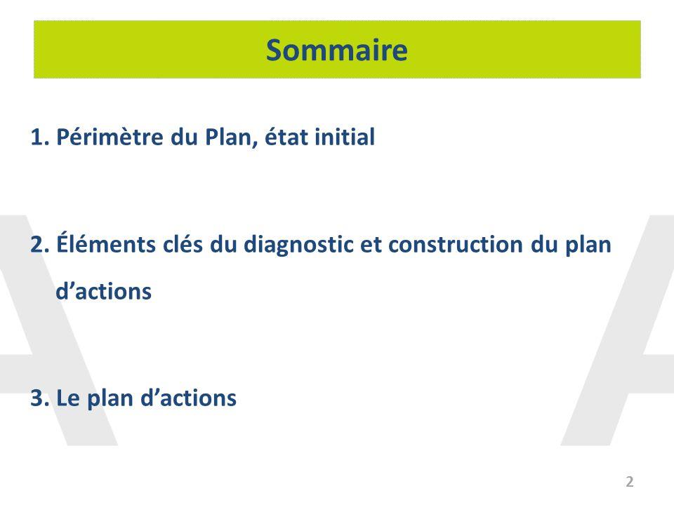 Sommaire 1. Périmètre du Plan, état initial 2. Éléments clés du diagnostic et construction du plan dactions 3. Le plan dactions 2