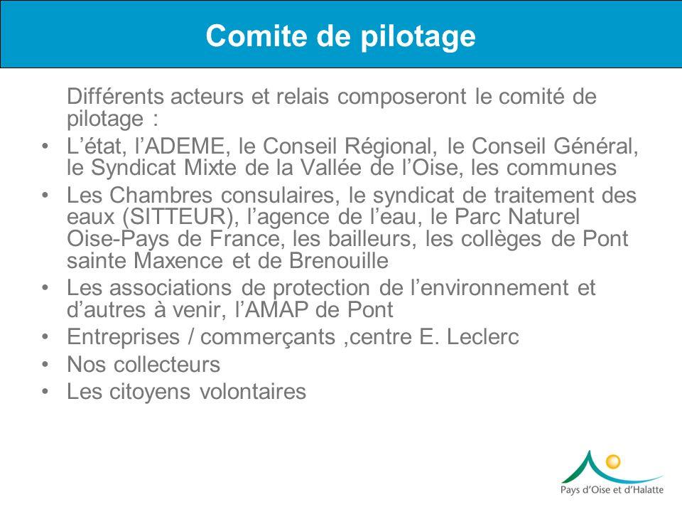Différents acteurs et relais composeront le comité de pilotage : Létat, lADEME, le Conseil Régional, le Conseil Général, le Syndicat Mixte de la Vallé