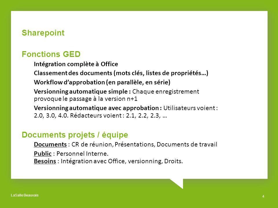 LaSalle Beauvais 4 Sharepoint Fonctions GED Intégration complète à Office Classement des documents (mots clés, listes de propriétés…) Workflow dapprob