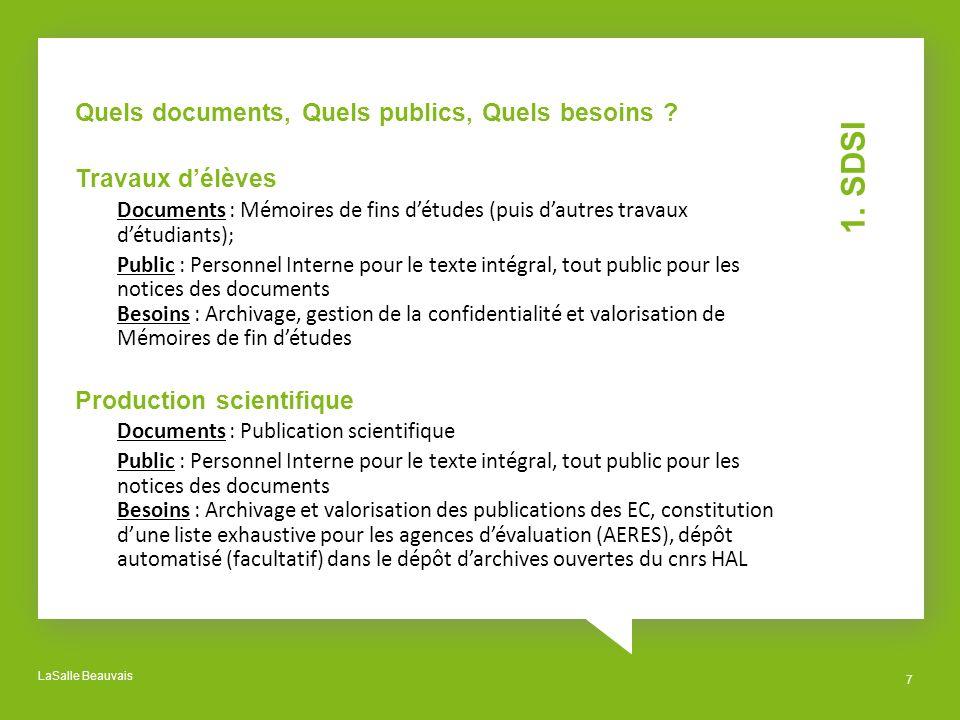 LaSalle Beauvais 7 1. SDSI Quels documents, Quels publics, Quels besoins ? Travaux délèves Documents : Mémoires de fins détudes (puis dautres travaux