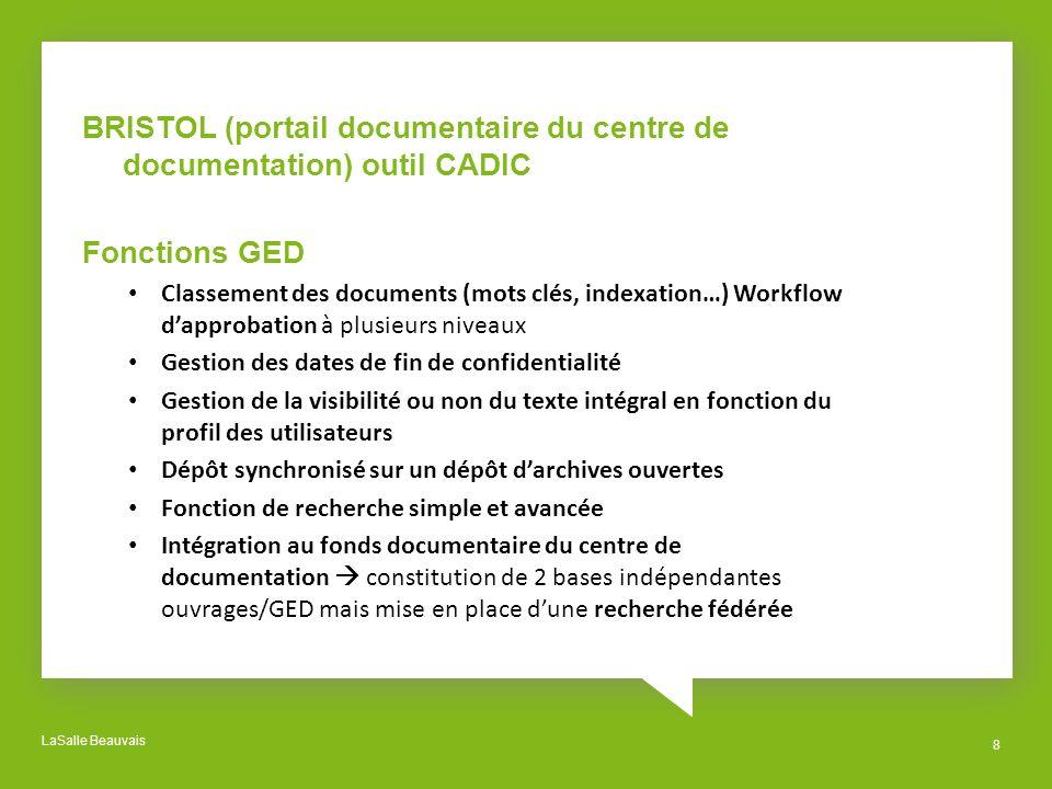 LaSalle Beauvais 8 BRISTOL (portail documentaire du centre de documentation) outil CADIC Fonctions GED Classement des documents (mots clés, indexation