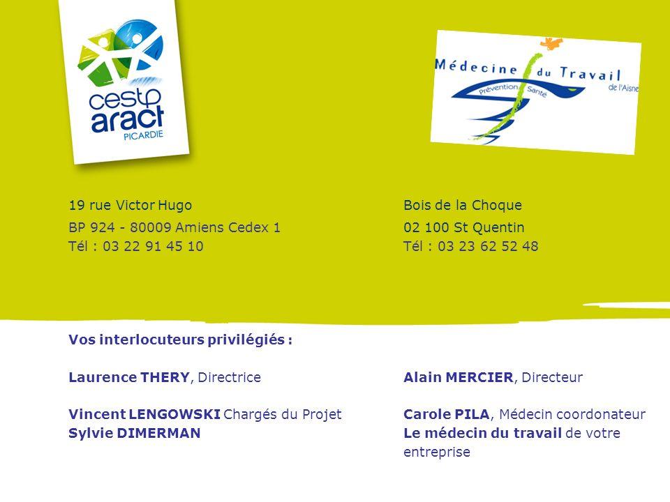 19 rue Victor HugoBois de la Choque BP 924 - 80009 Amiens Cedex 1 02 100 St Quentin Tél : 03 22 91 45 10Tél : 03 23 62 52 48 Vos interlocuteurs privil