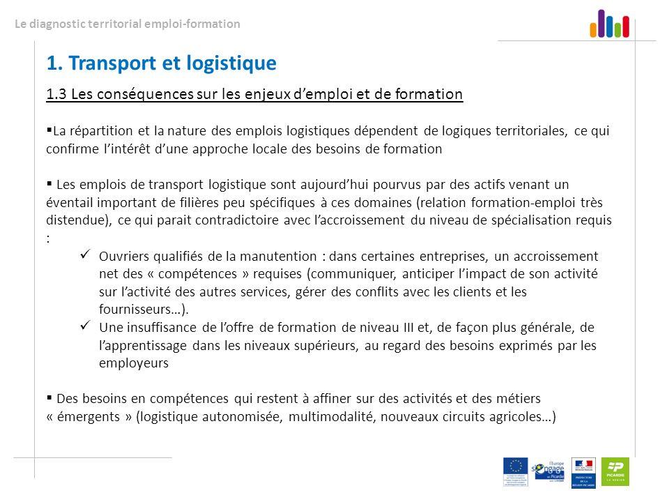 Le diagnostic territorial emploi-formation 1. Transport et logistique 1.3 Les conséquences sur les enjeux demploi et de formation La répartition et la