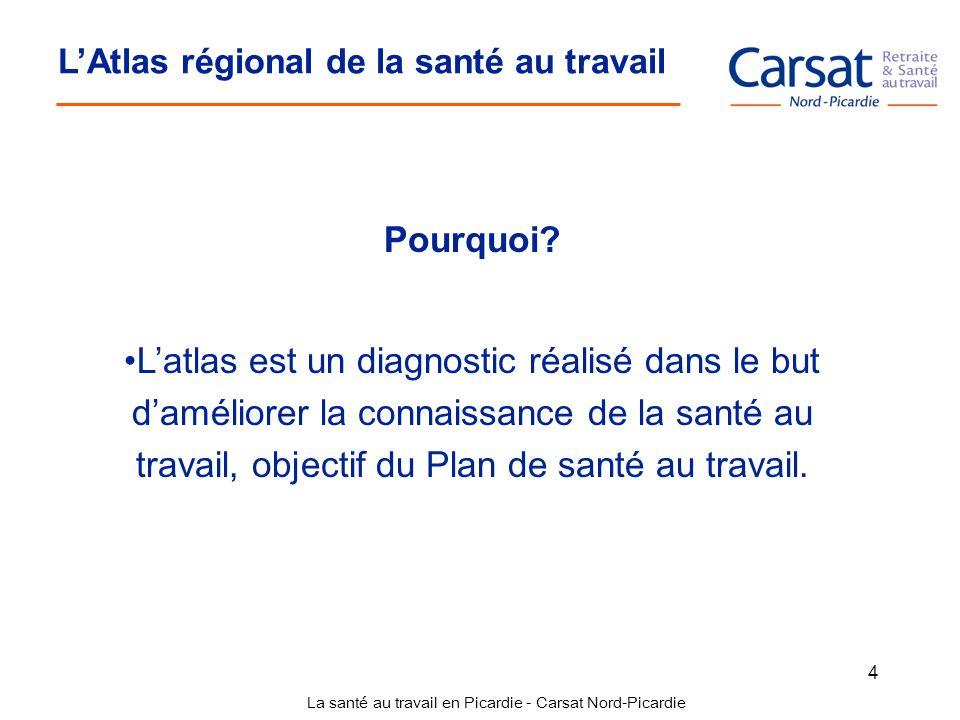 La santé au travail en Picardie - Carsat Nord-Picardie 4 LAtlas régional de la santé au travail Pourquoi? Latlas est un diagnostic réalisé dans le but