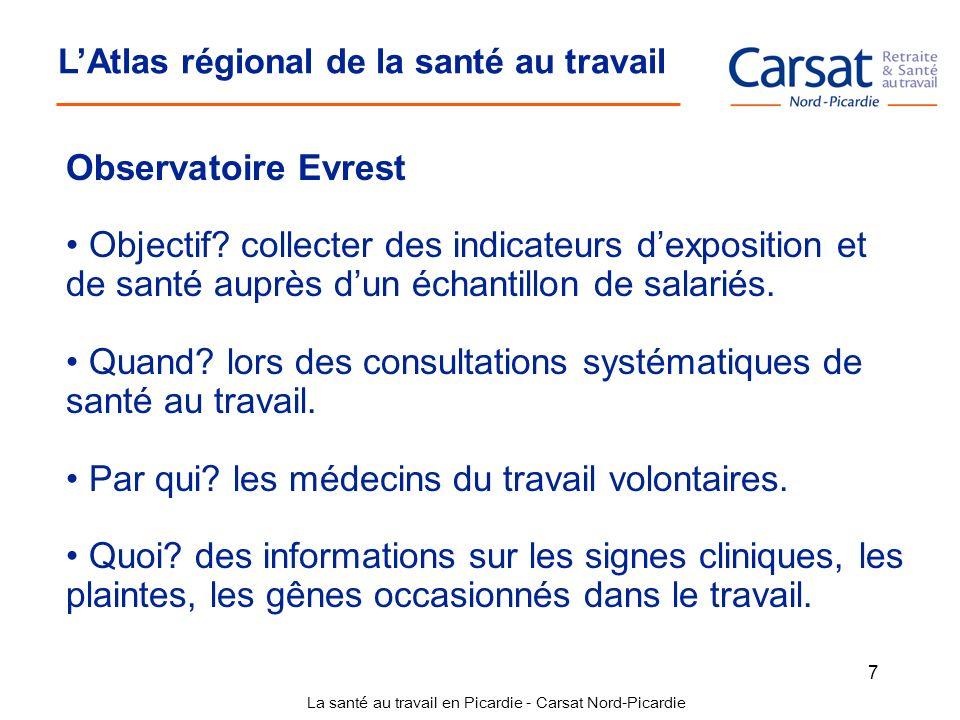La santé au travail en Picardie - Carsat Nord-Picardie 7 LAtlas régional de la santé au travail Observatoire Evrest Objectif? collecter des indicateur