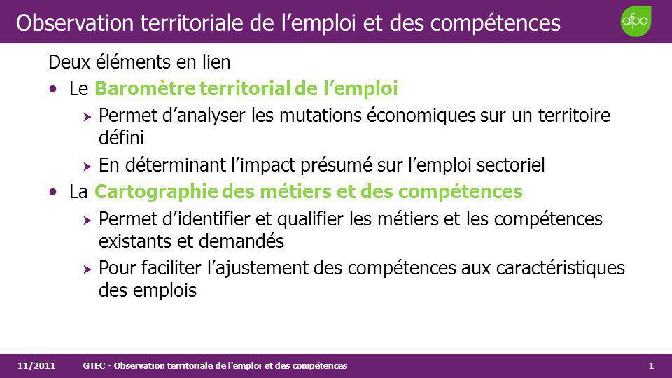 1 Observation territoriale de lemploi et des compétences Deux éléments en lien Le Baromètre territorial de lemploi Permet danalyser les mutations écon