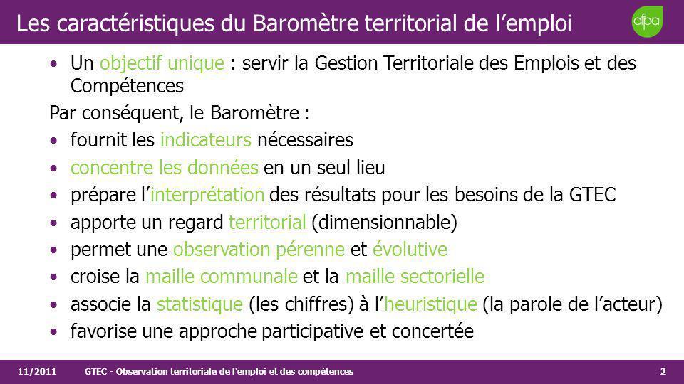 2 Les caractéristiques du Baromètre territorial de lemploi Un objectif unique : servir la Gestion Territoriale des Emplois et des Compétences Par cons
