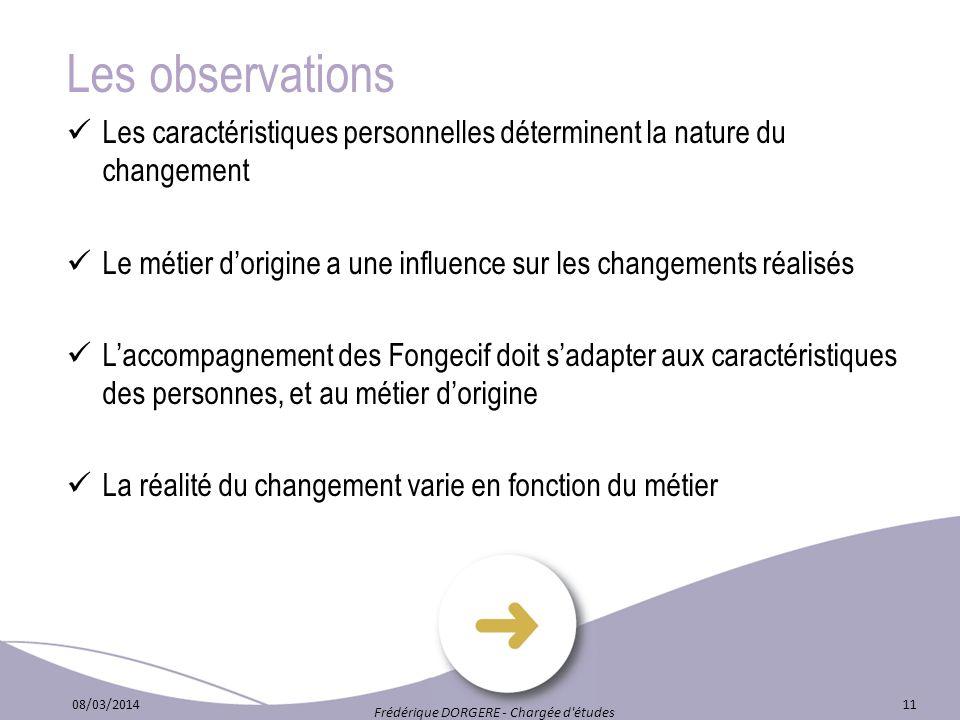 Les observations Les caractéristiques personnelles déterminent la nature du changement Le métier dorigine a une influence sur les changements réalisés
