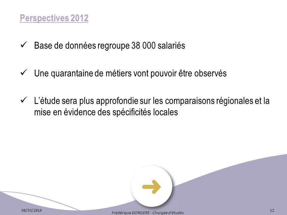 Perspectives 2012 Base de données regroupe 38 000 salariés Une quarantaine de métiers vont pouvoir être observés Létude sera plus approfondie sur les