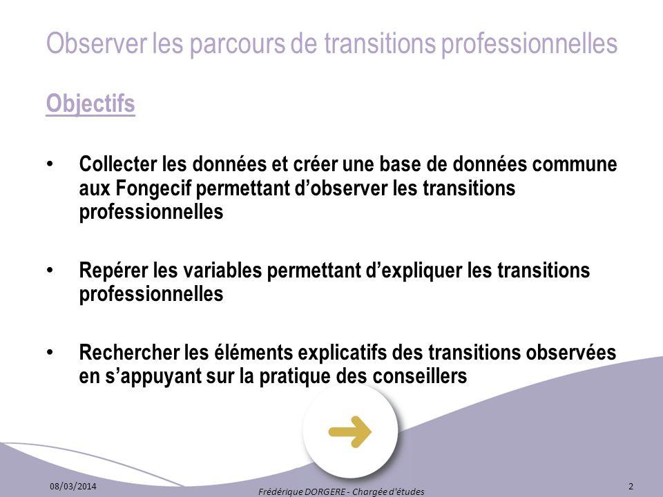 Observer les parcours de transitions professionnelles Objectifs Collecter les données et créer une base de données commune aux Fongecif permettant dob