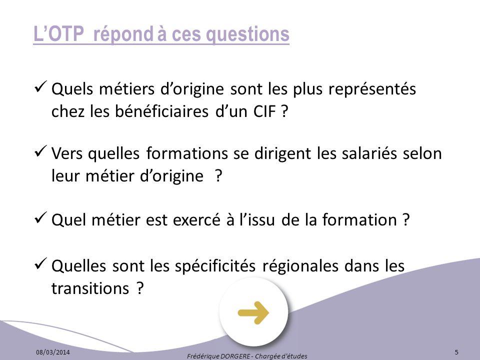 LOTP répond à ces questions Quels métiers dorigine sont les plus représentés chez les bénéficiaires dun CIF ? Vers quelles formations se dirigent les