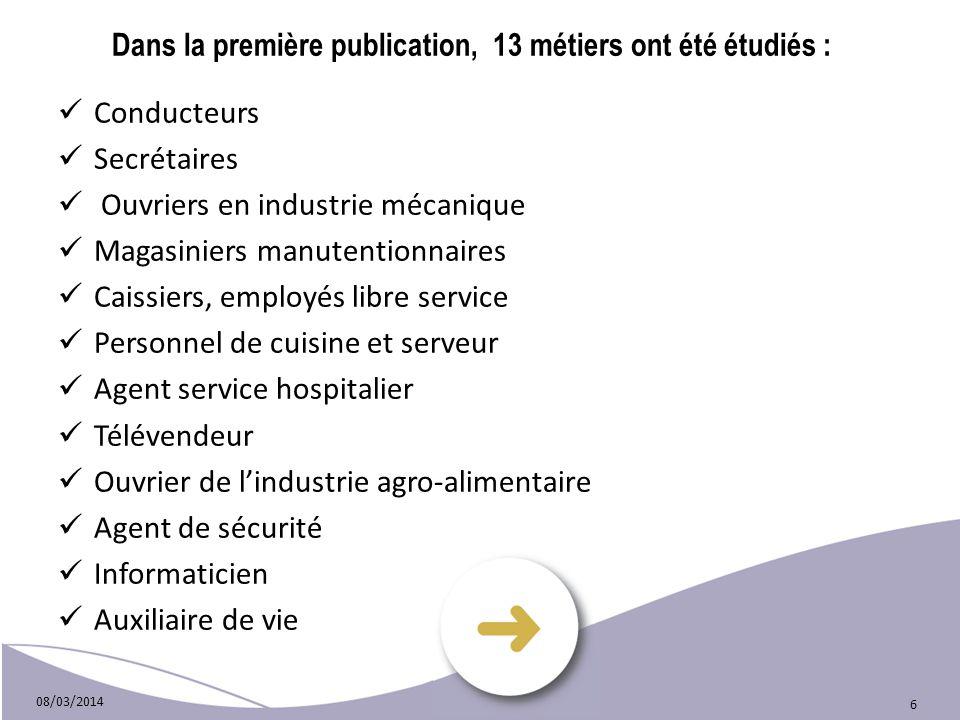 08/03/2014 6 Dans la première publication, 13 métiers ont été étudiés : Conducteurs Secrétaires Ouvriers en industrie mécanique Magasiniers manutentio