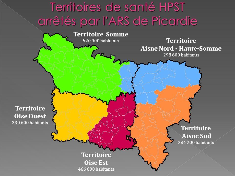 Territoire Oise Est 466 000 habitants Territoire Somme 520 900 habitants Territoire Aisne Nord - Haute-Somme 298 600 habitants Territoire Aisne Sud 28