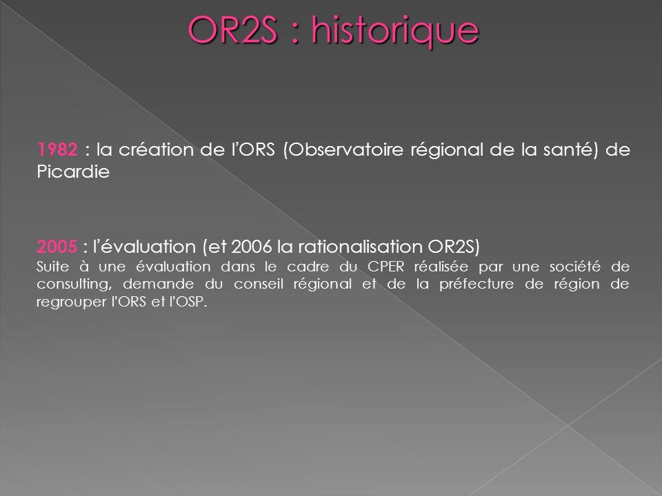 OR2S : historique 1982 : la création de lORS (Observatoire régional de la santé) de Picardie 2005 : lévaluation (et 2006 la rationalisation OR2S) Suit