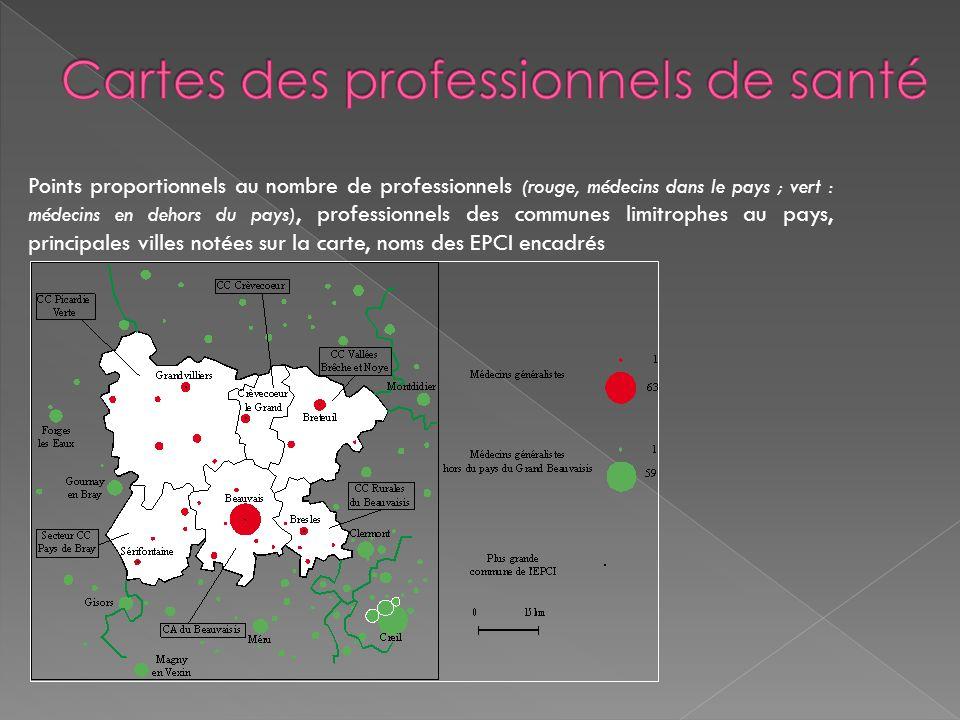 Points proportionnels au nombre de professionnels (rouge, médecins dans le pays ; vert : médecins en dehors du pays), professionnels des communes limi
