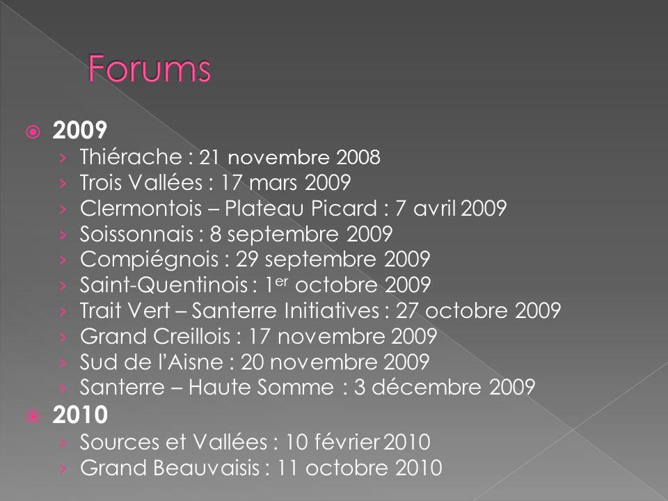 2009 Thiérache : 21 novembre 2008 Trois Vallées : 17 mars 2009 Clermontois – Plateau Picard : 7 avril 2009 Soissonnais : 8 septembre 2009 Compiégnois