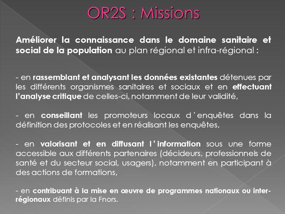 OR2S : Missions Améliorer la connaissance dans le domaine sanitaire et social de la population au plan régional et infra-régional : - en rassemblant e