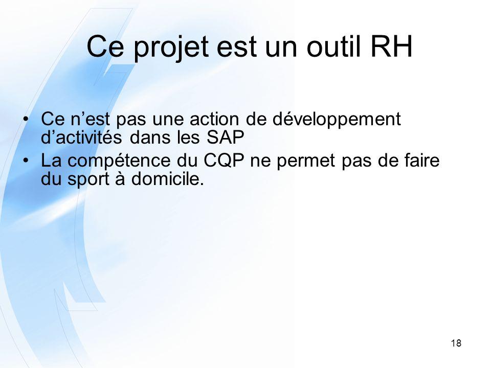 18 Ce projet est un outil RH Ce nest pas une action de développement dactivités dans les SAP La compétence du CQP ne permet pas de faire du sport à do