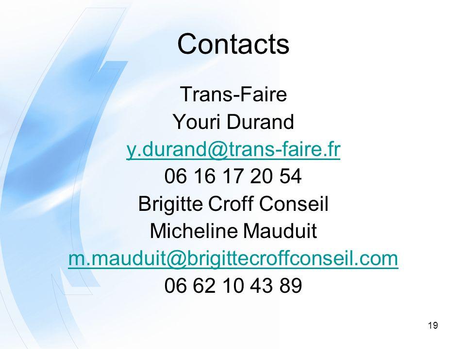 19 Contacts Trans-Faire Youri Durand y.durand@trans-faire.fr 06 16 17 20 54 Brigitte Croff Conseil Micheline Mauduit m.mauduit@brigittecroffconseil.co