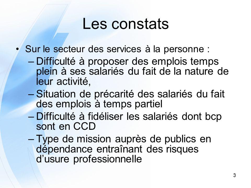 3 Les constats Sur le secteur des services à la personne : –Difficulté à proposer des emplois temps plein à ses salariés du fait de la nature de leur
