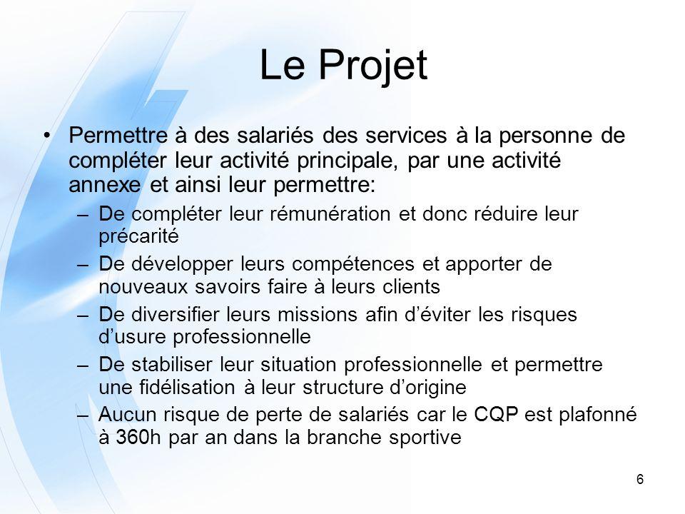 6 Le Projet Permettre à des salariés des services à la personne de compléter leur activité principale, par une activité annexe et ainsi leur permettre