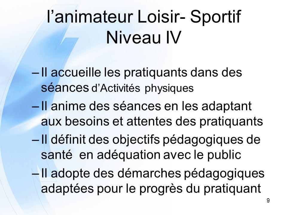 9 lanimateur Loisir- Sportif Niveau IV –Il accueille les pratiquants dans des séances dActivités physiques –Il anime des séances en les adaptant aux b