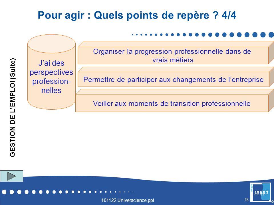 13 © GESTION DE LEMPLOI (Suite) Veiller aux moments de transition professionnelle Organiser la progression professionnelle dans de vrais métiers Jai d
