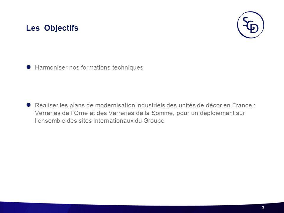 Les Objectifs Harmoniser nos formations techniques Réaliser les plans de modernisation industriels des unités de décor en France : Verreries de lOrne