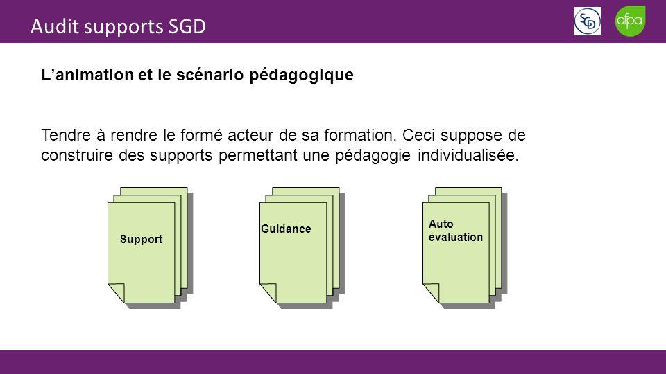 Audit supports SGD Lanimation et le scénario pédagogique Tendre à rendre le formé acteur de sa formation. Ceci suppose de construire des supports perm