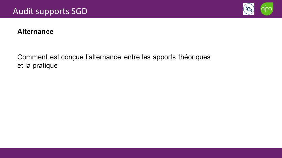 Audit supports SGD Alternance Comment est conçue lalternance entre les apports théoriques et la pratique