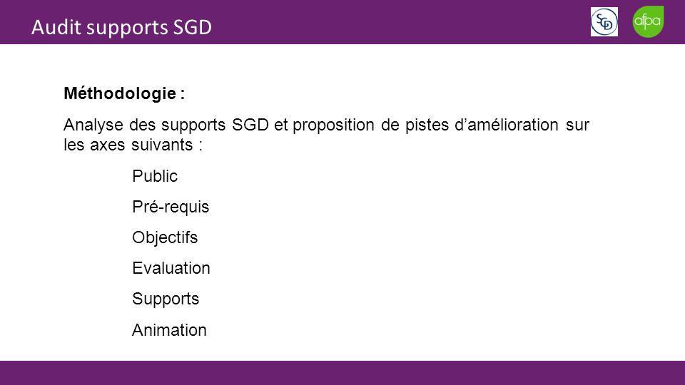 Audit supports SGD Méthodologie : Analyse des supports SGD et proposition de pistes damélioration sur les axes suivants : Public Pré-requis Objectifs Evaluation Supports Animation