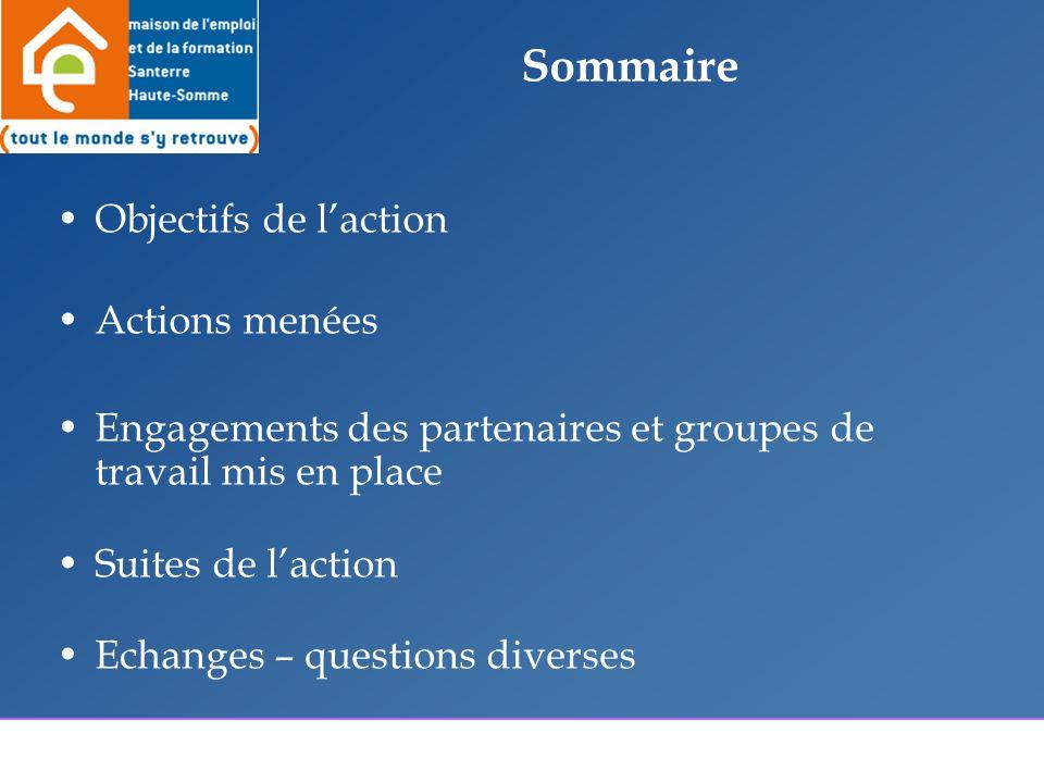 Sommaire Objectifs de laction Actions menées Engagements des partenaires et groupes de travail mis en place Suites de laction Echanges – questions diverses