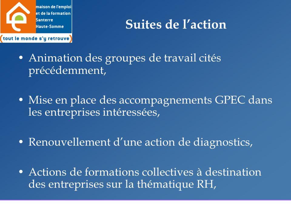 Suites de laction Animation des groupes de travail cités précédemment, Mise en place des accompagnements GPEC dans les entreprises intéressées, Renouvellement dune action de diagnostics, Actions de formations collectives à destination des entreprises sur la thématique RH,