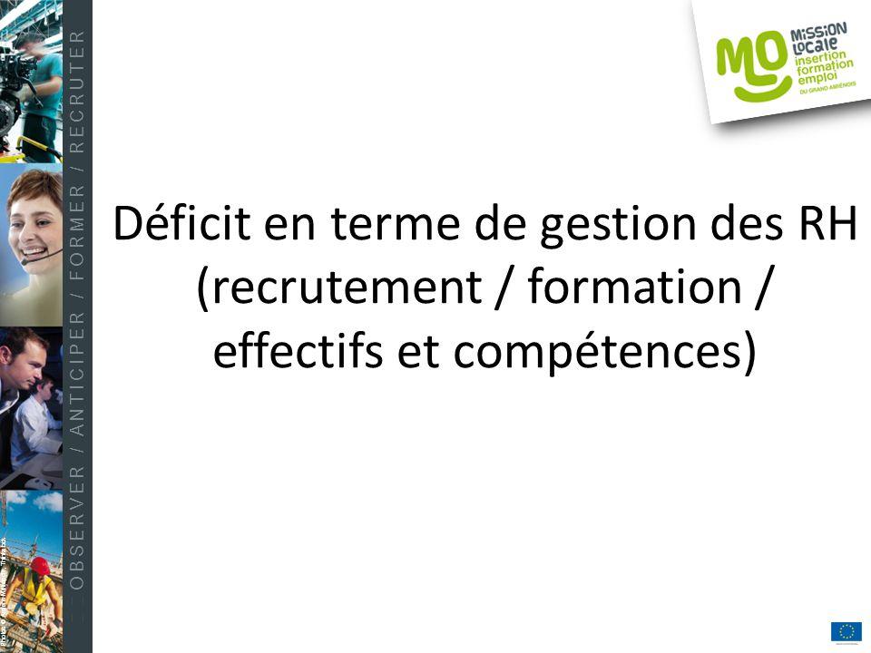 OBSERVER / ANTICIPER / FORMER / RECRUTER Photos © Amiens Métropole, Thinkstock Déficit en terme de gestion des RH (recrutement / formation / effectifs et compétences)