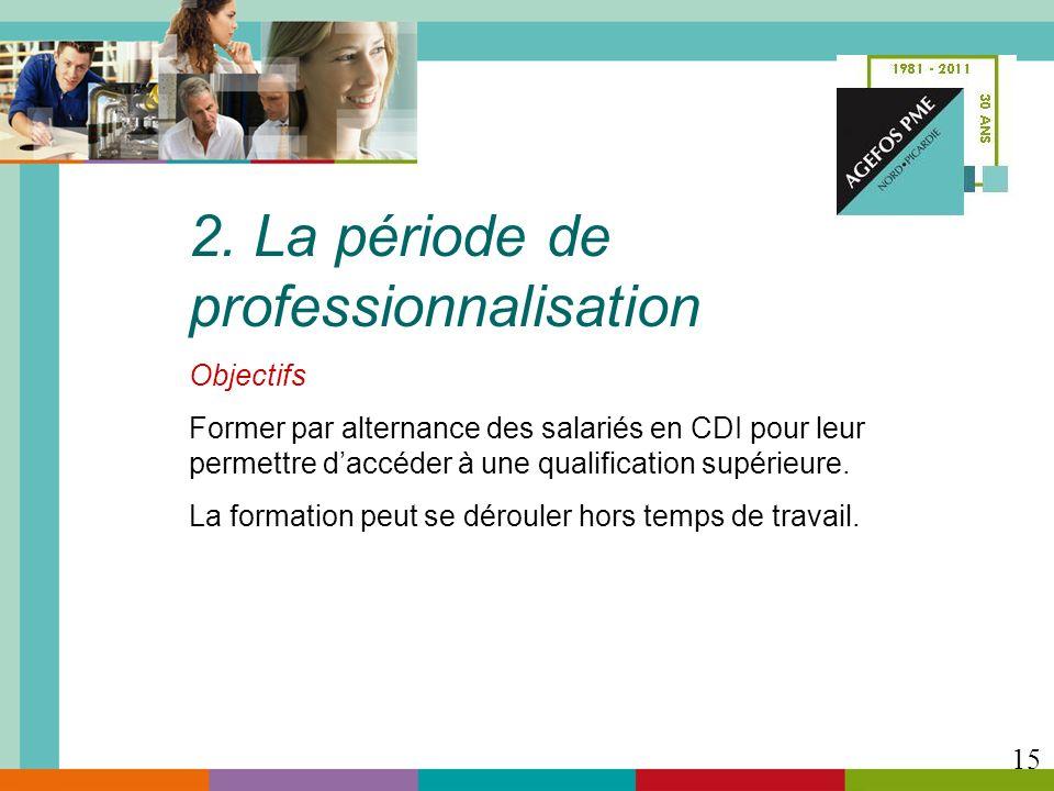 2. La période de professionnalisation Objectifs Former par alternance des salariés en CDI pour leur permettre daccéder à une qualification supérieure.