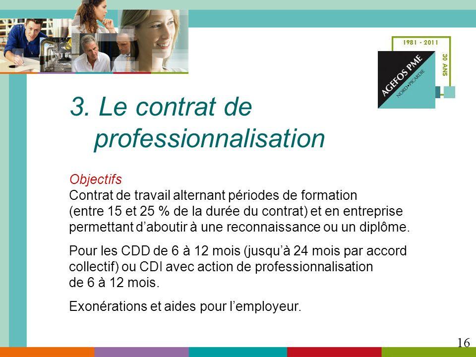 3. Le contrat de professionnalisation Objectifs Contrat de travail alternant périodes de formation (entre 15 et 25 % de la durée du contrat) et en ent