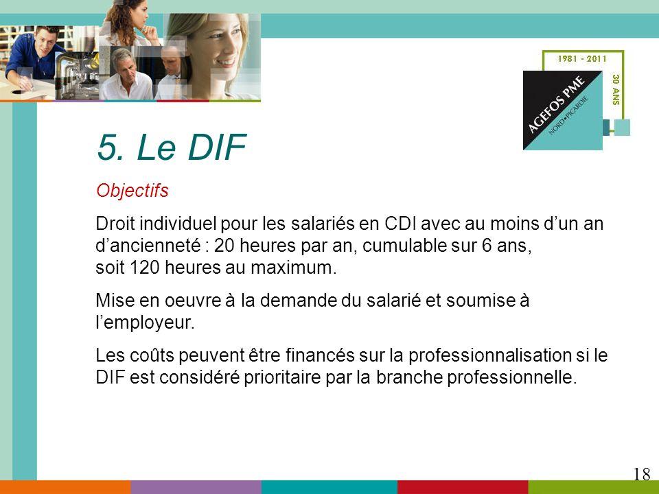 5. Le DIF Objectifs Droit individuel pour les salariés en CDI avec au moins dun an dancienneté : 20 heures par an, cumulable sur 6 ans, soit 120 heure