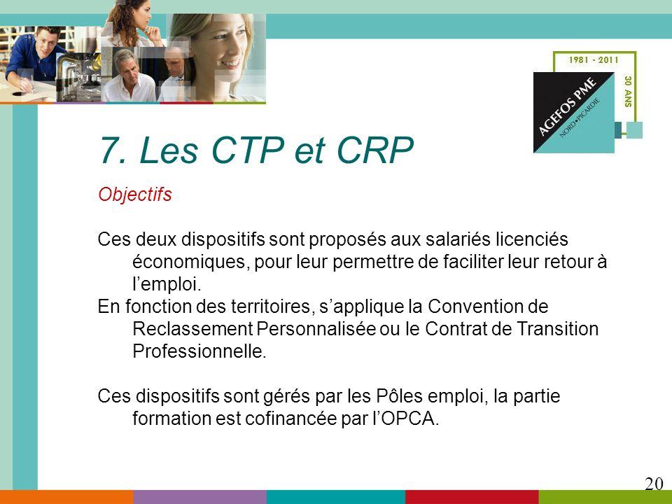 7. Les CTP et CRP Objectifs Ces deux dispositifs sont proposés aux salariés licenciés économiques, pour leur permettre de faciliter leur retour à lemp